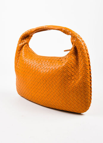 "Bottega Veneta Orange Leather Intrecciato Woven ""Medium Veneta"" Hobo Bag Sideview"