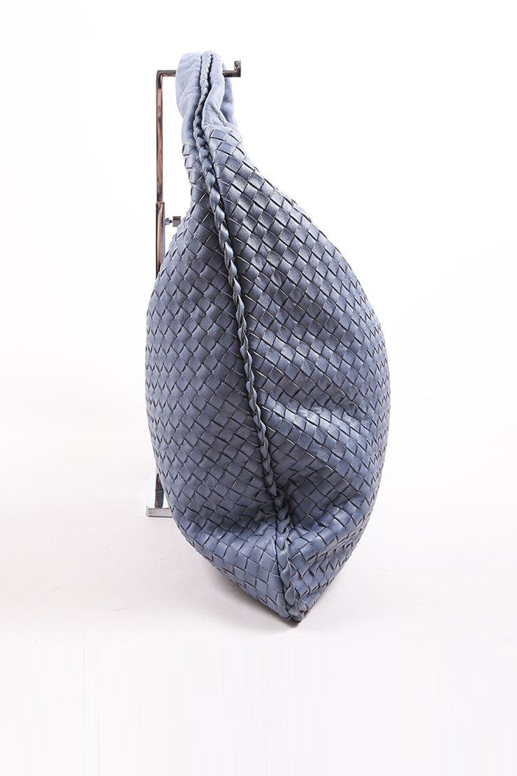 "Bottega Veneta Blue Basketwoven Intrecciato Leather ""Maxi Veneta"" Hobo Bag Sideview"