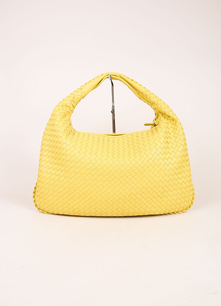 Bottega Veneta Yellow Leather Woven Hobo Shoulder Bag Frontview