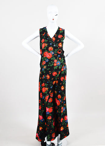 Celine Black and Multicolor Crepe Floral Draped Layered Pantsuit  Frontview