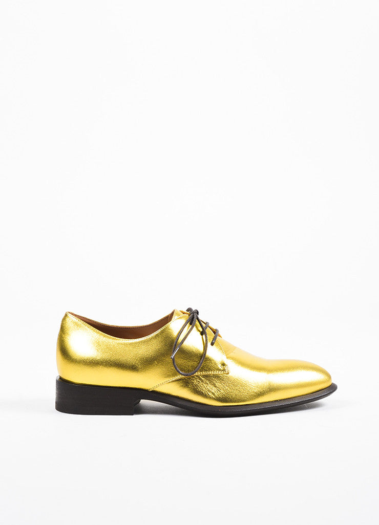 Celine Gold Metallic Leather Lace Up Oxfords Sideview