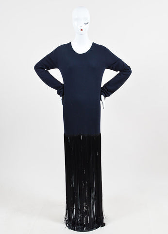 Navy Blue and Black Celine Wool Fringe Long Sleeve Dress Frontview