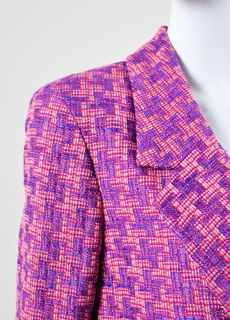 Chanel Purple and Pink Geometric Knit Jacket Detail