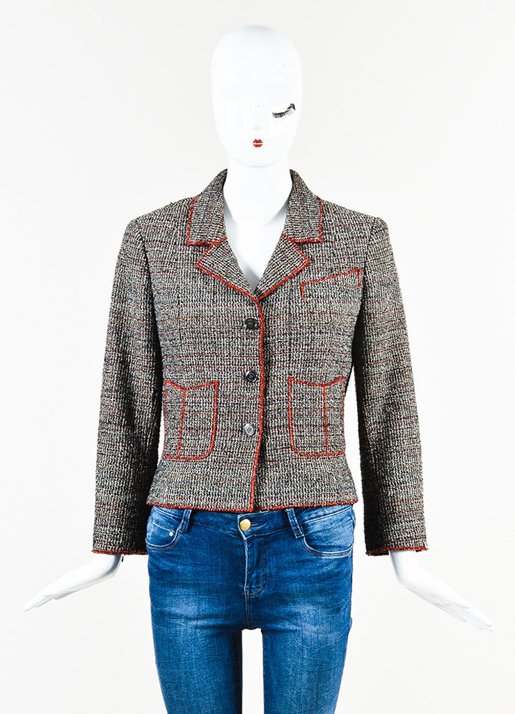 Black White Red Chanel Tweed Knit Button Up Long Sleeve Blazer Jacket Front 2