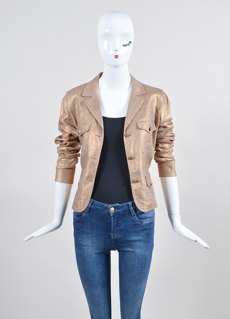 Metallic Gold Chanel Linen and Silk Button Up Jacket Frontview