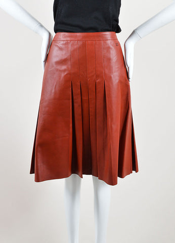 Chanel Dark Red Leather Pleated Knee Length A-Line Skirt Frontview