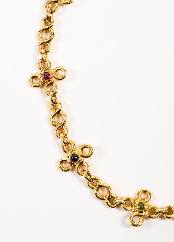 Chanel 18K Yellow Gold and Multicolor Cabachon Gemstone Short Chain Necklace Detail