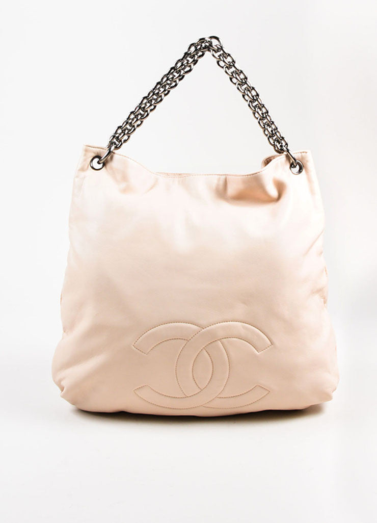 "Chanel ""Beige"" Cream Lambskin Leather Chain Handle 'CC' Stitch Hobo Bag Frontview"