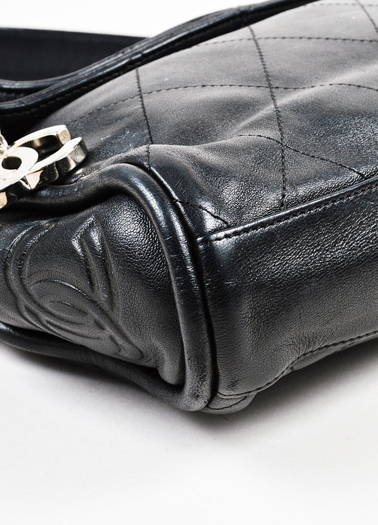 "Black Chanel Lambskin Leather Silver Toned 'CC' Charm ""Small Ultimate Soft"" Bag Detail"