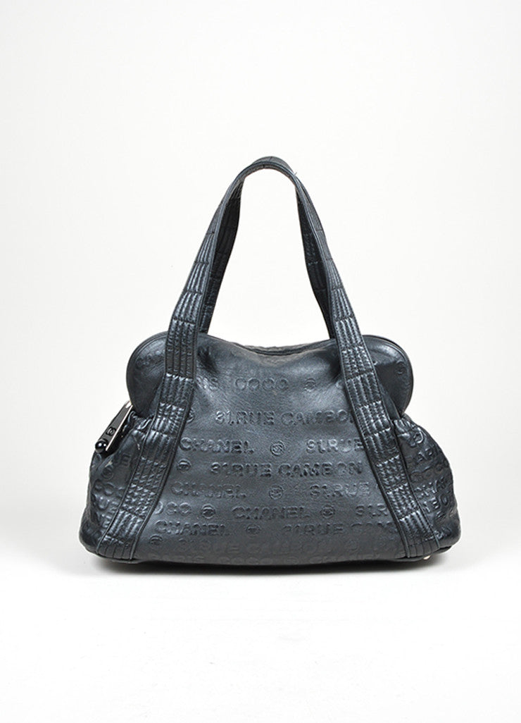 "Black Chanel Leather Embossed ""31 Rue Cambon"" Shoulder Satchel Bag Frontview"