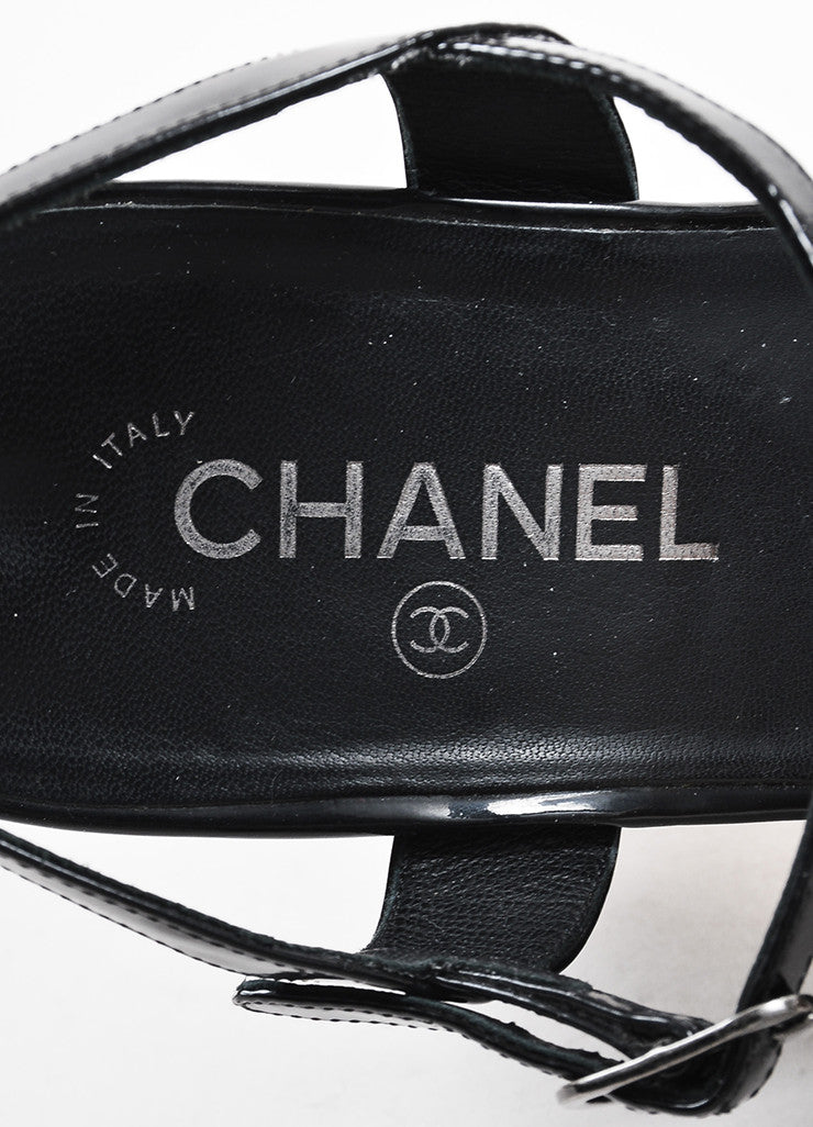 Chanel Black Patent Leather Strappy 'CC' Sandals Brand