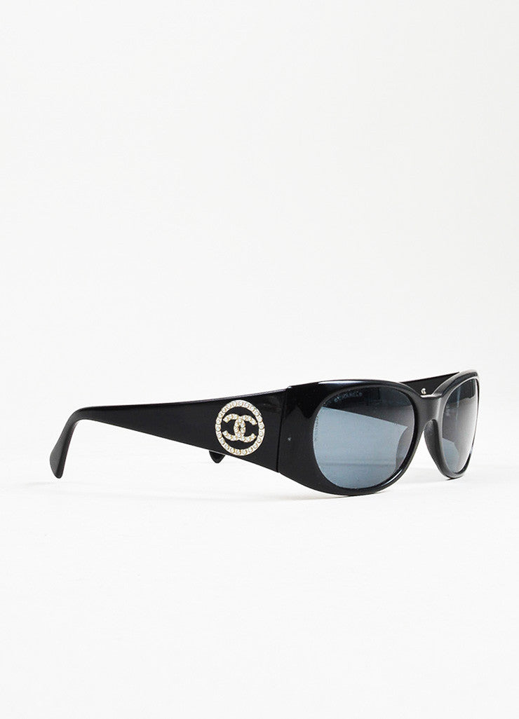 "Black Chanel Plastic Faux Pearl 'CC' Detail ""5082 H"" Sunglasses Sideview"