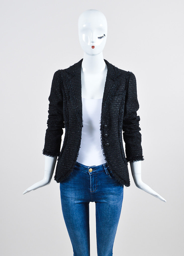 Black Chanel Woven Tweed Knit Fringe Trim Metallic Blazer Frontview
