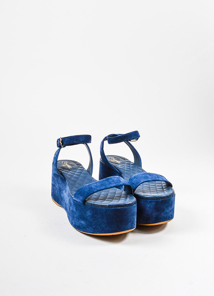 Chanel Blue Suede 'CC' Logo Flatform Sandals Frontview