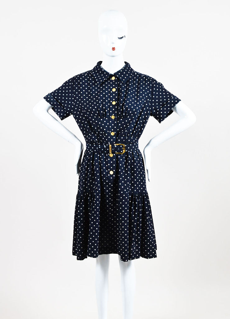 Chanel Navy and Beige Crepe Polka Dot Printed Short Sleeve Belted Shirt Dress Frontview