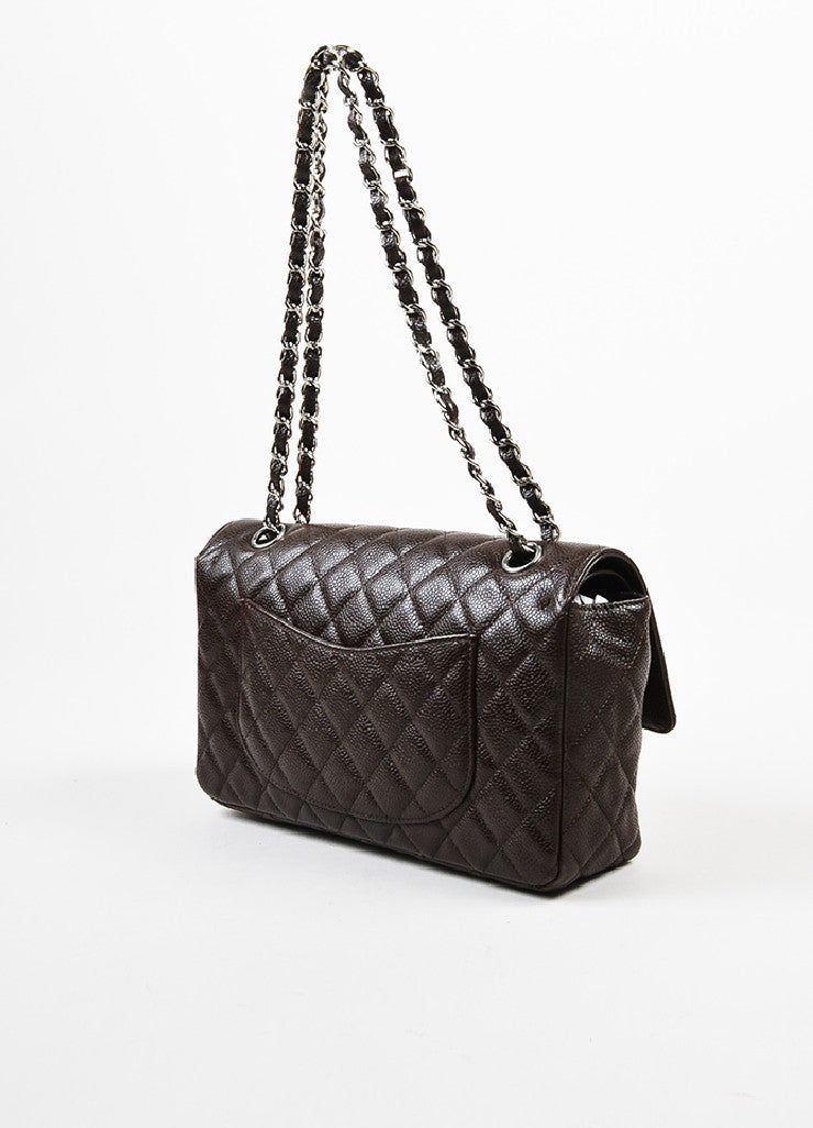 "Brown Chanel Quilted Caviar Leather ""Medium Double Flap"" Shoulder Bag Sideview"
