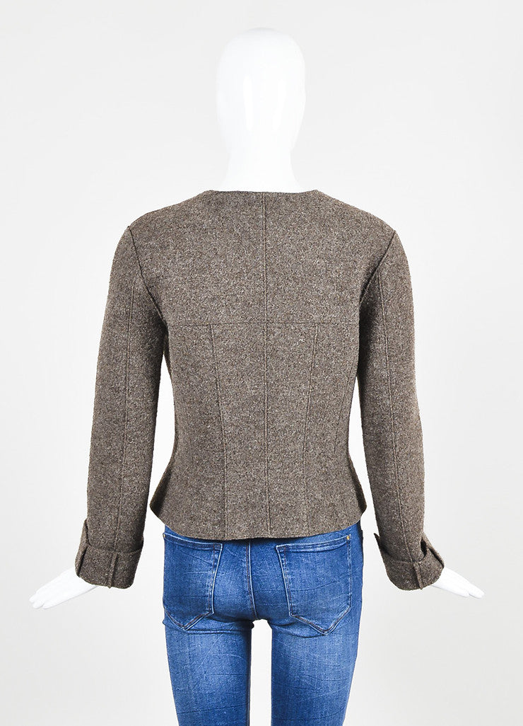 Chanel Brown Wool Textured Cuffed Zipped Jacket with Belted Pouch Backview