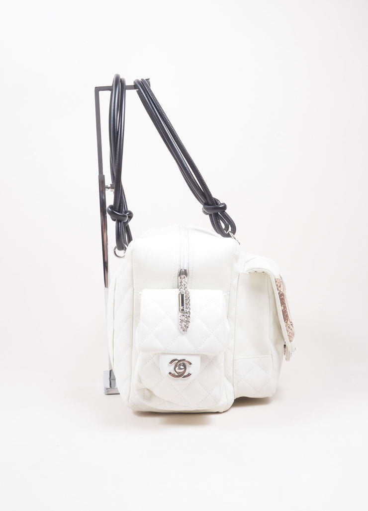 "Chanel Cream Leather ""CC"" Quilted ""Ligne Cambon Reporter"" Satchel Shoulder Bag  Sideview"