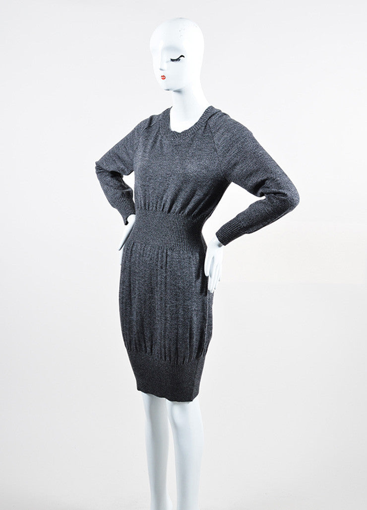 Grey and Black Chanel Wool Long Sleeve Rib Knit Sweater Dress Sideview