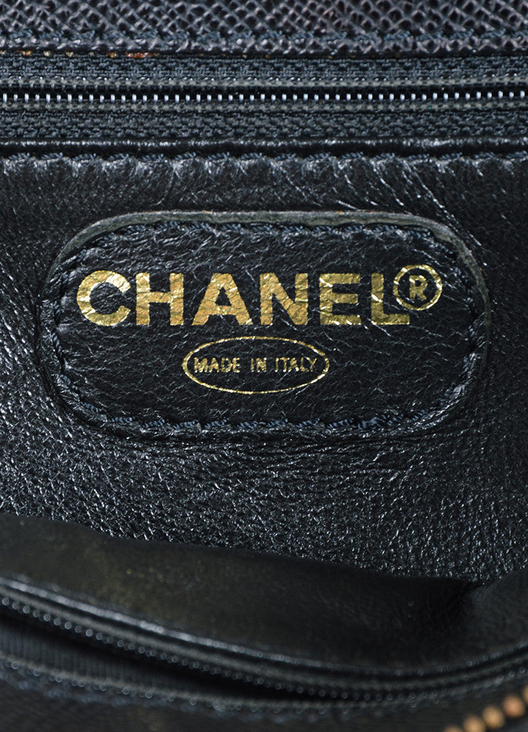"Chanel ""Marron Fonce"" Black Caviar Leather Shoulder Bag Brand"