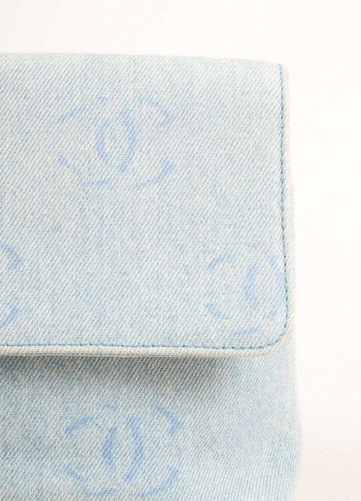 "Chanel Pale Blue Denim ""CC"" Logo Clutch Bag Detail 2"
