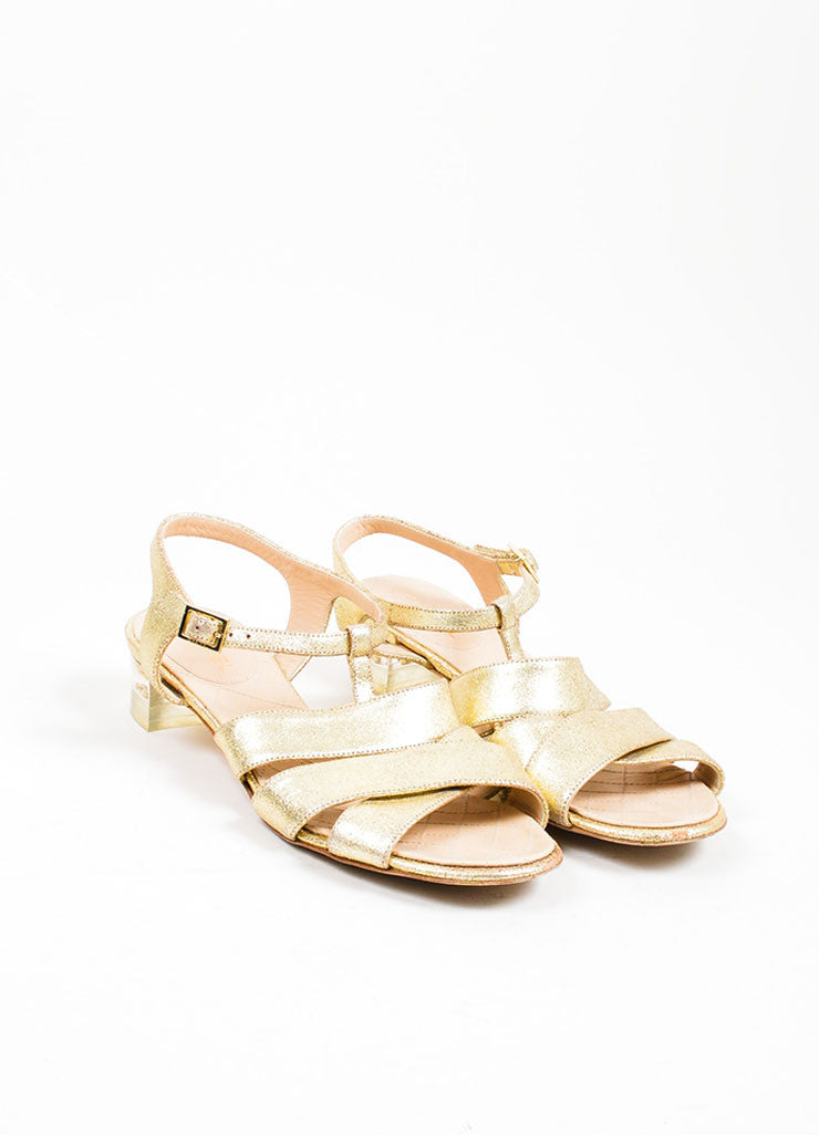 Gold Chanel Metallic Leather Cross Ankle Strap Sandals Frontview