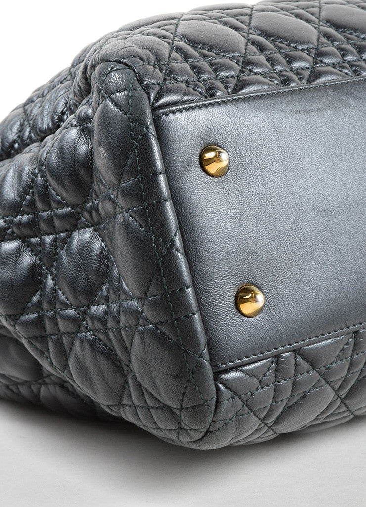Christian Dior Black Quilted Leather Shopping Tote Detail 1