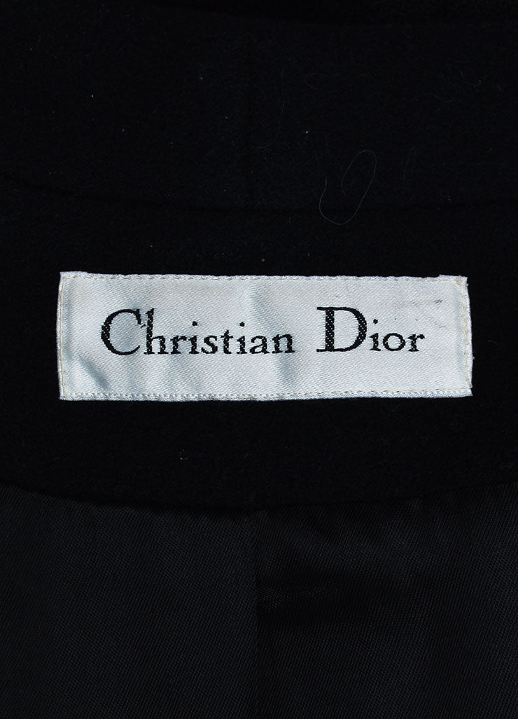 Black Christian Dior Wool Double Breasted Shawl Collar Full Length Coat Brand