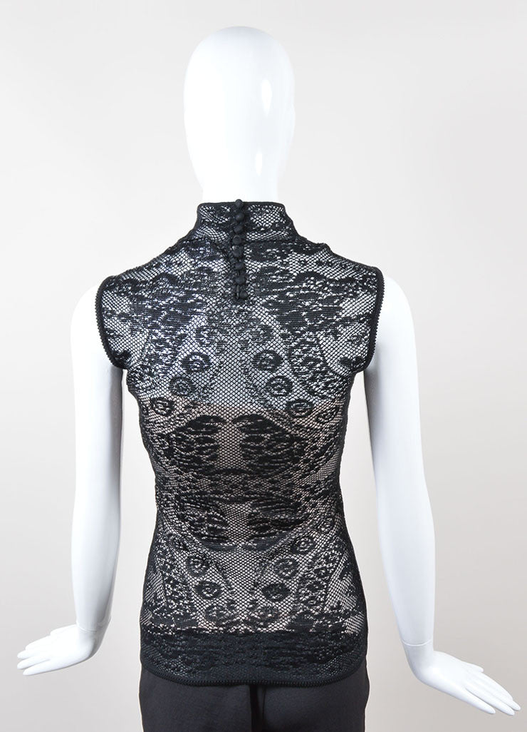 Christian Dior Black and Blush Silk Lace Sleeveless Turtleneck Top Backview