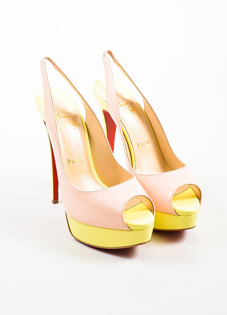 "Yellow and Pink Christian Louboutin Patent Leather ""Lady"" Platform Pumps Frontview"