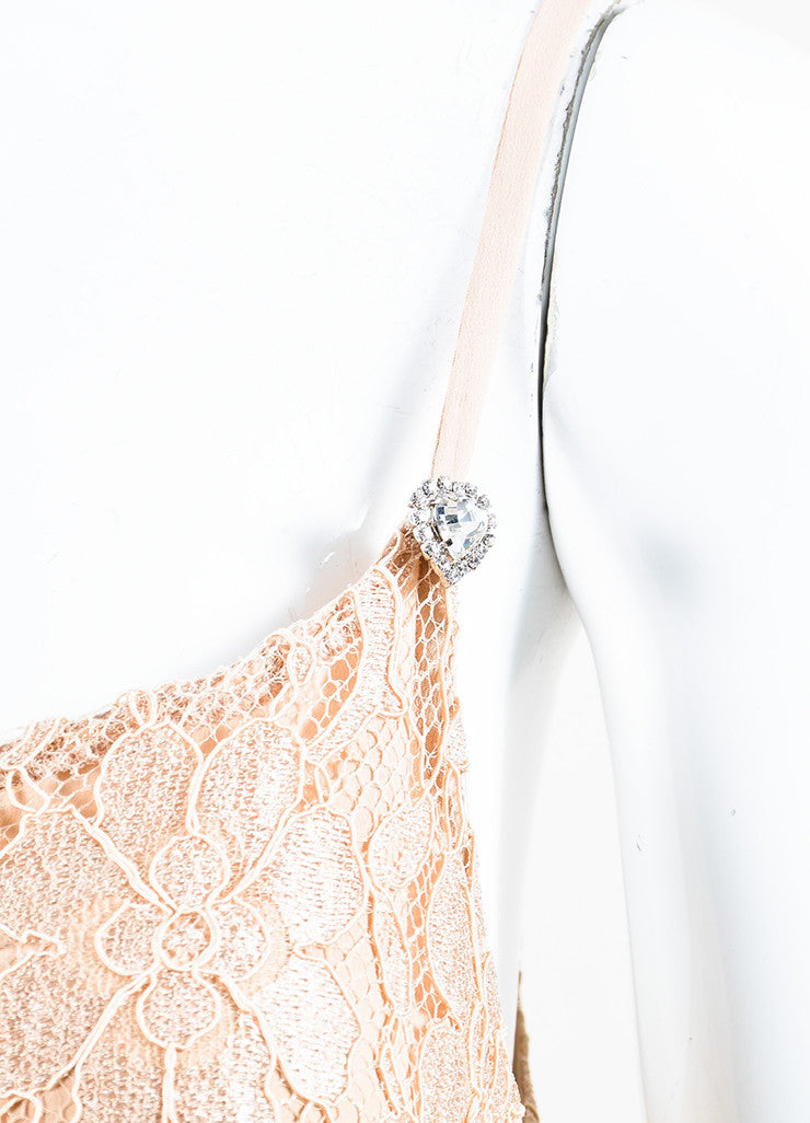 Nude Christopher Kane Floral Lace Rhinestone Camisole Tank Detail