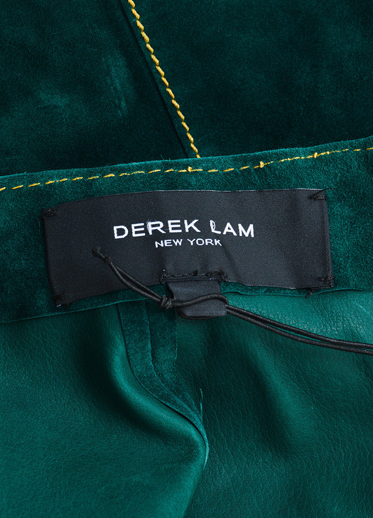 Derek Lam Green Suede Leather A Line Skirt Brand