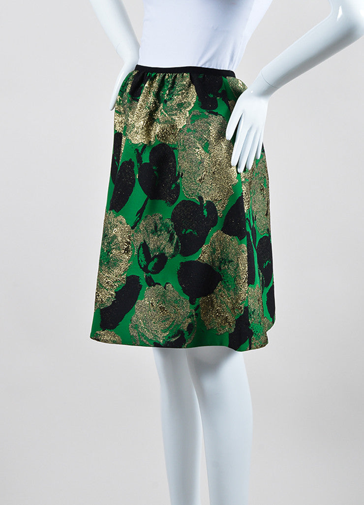 "Green, Gold, and Black Erdem Floral Jacquard ""Kitty"" A-Line Skirt  Sideview"
