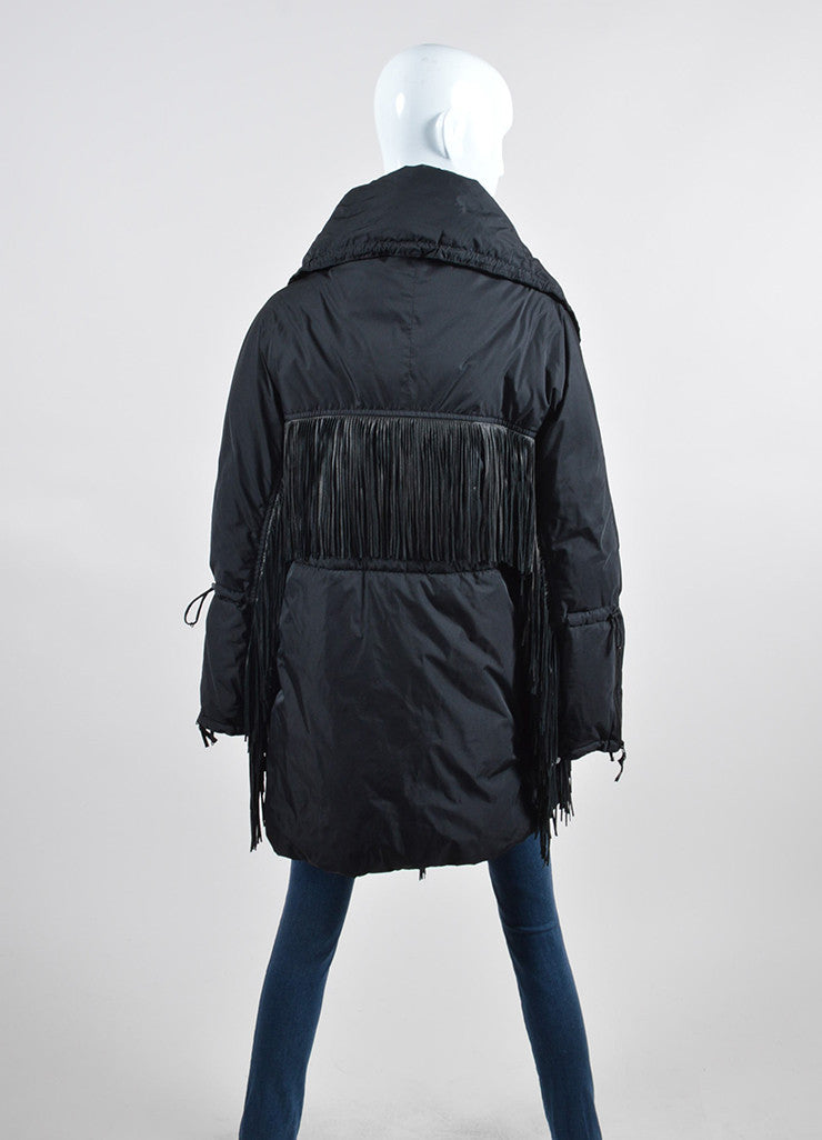Black Ermanno Scervino Leather Fringe Down Coat Backview