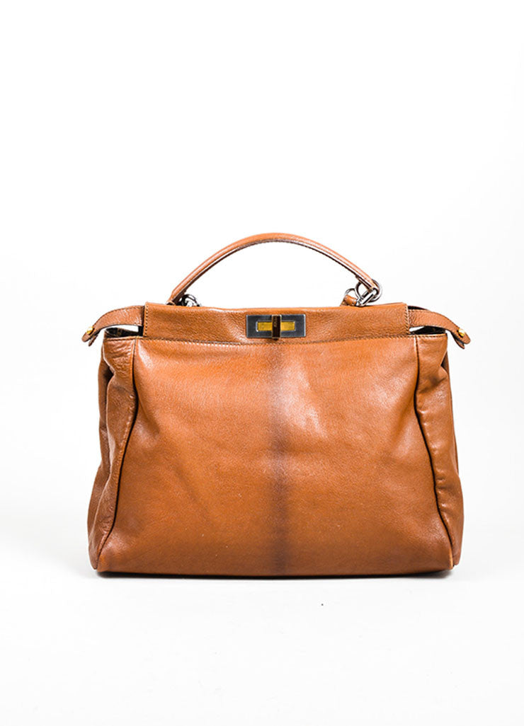"Fendi ""Peekaboo"" Brown Leather Satchel Bag Frontview"