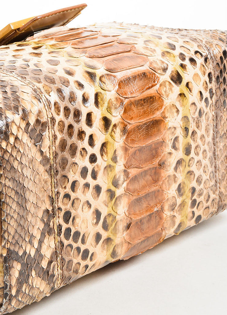 Brown and Beige Fendi Python Leather Box Bag Bottom View