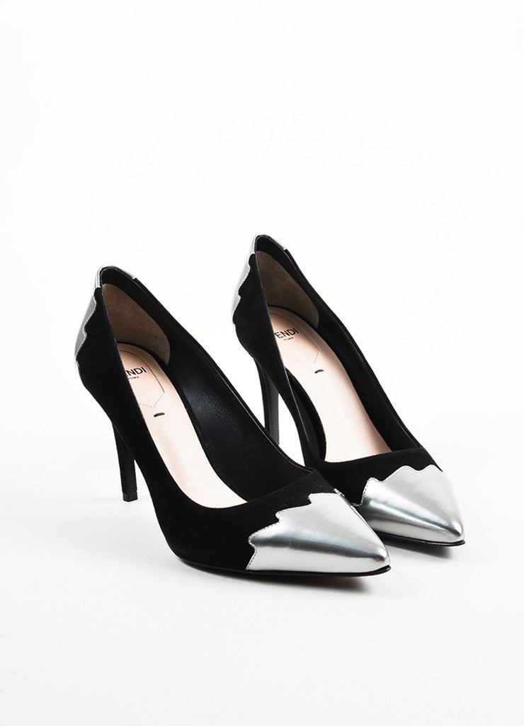 "Fendi Black and Silver ""Crocktail"" Cap Toe Pointed Pumps frontview"