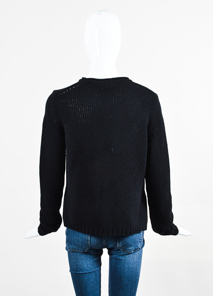 Black Fendi Cashmere and Mink Crystal Applique Pullover Sweater Backview