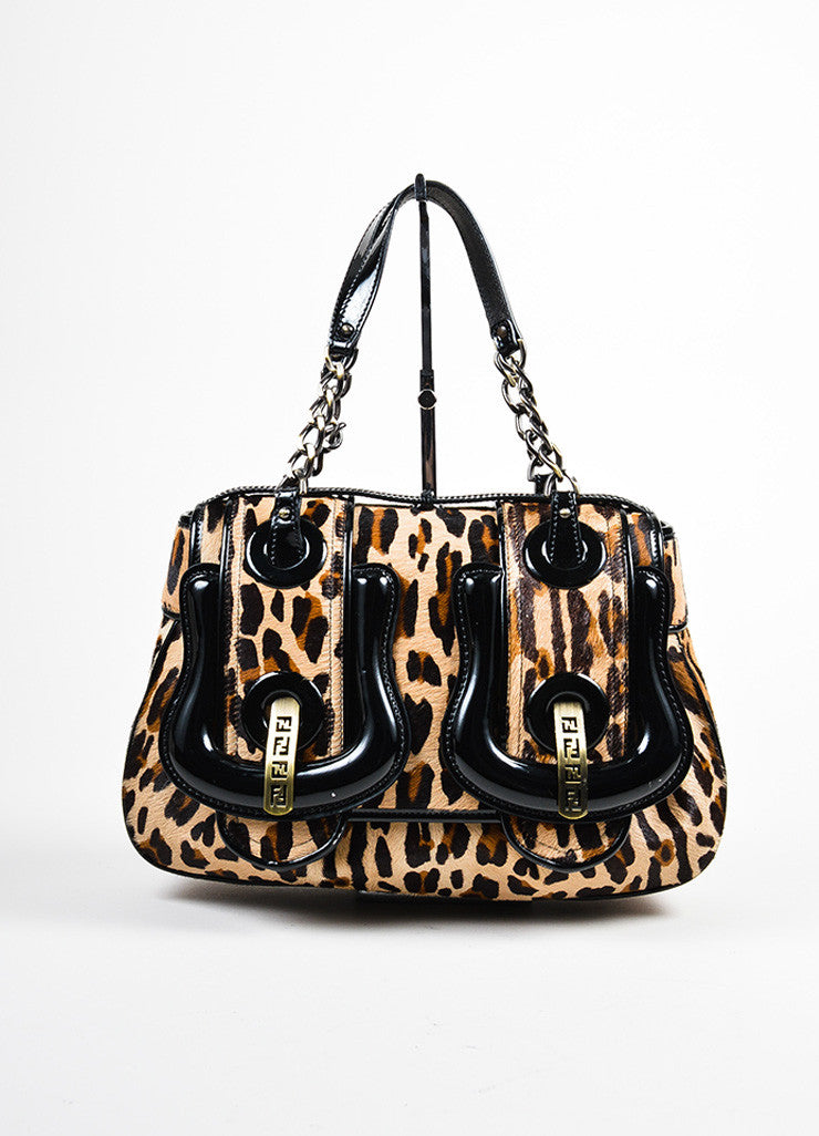 "Leopard Print Fendi Pony Hair Patent Leather Buckle ""B Bag"" Frontview"