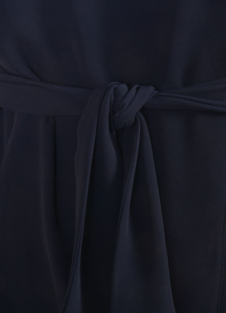 Fendi Navy Blue Layered Pleated Belted Sleeveless Dress Detail