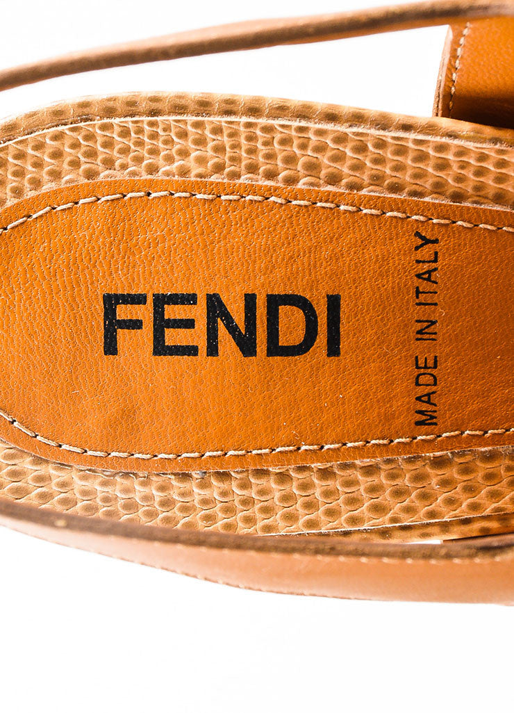 Tan Fendi Embossed Leather Buckle Strap Platform Heel Sandals Brand