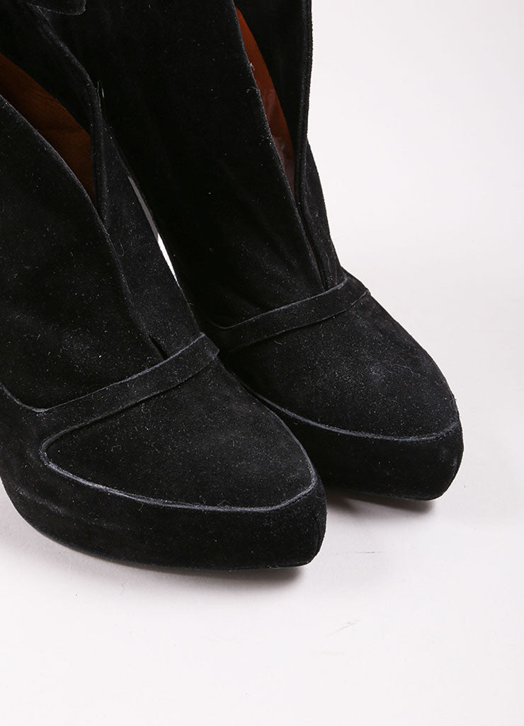 Givenchy Black Suede Leather Slit Ankle Strap Platform Booties Detail