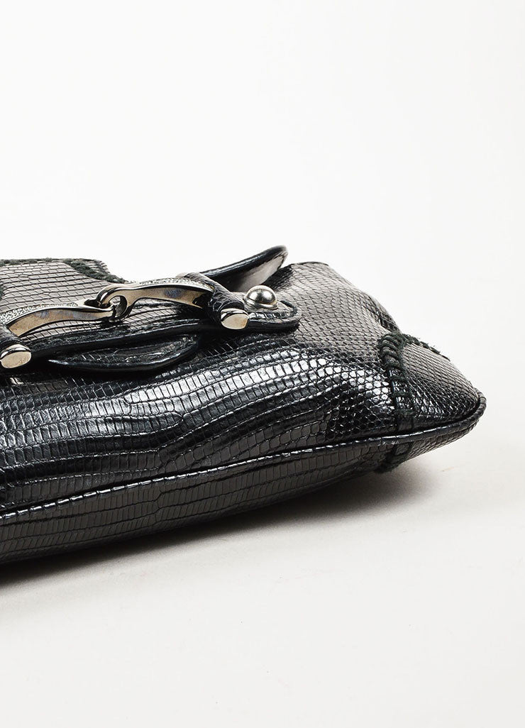 Gucci Black Leather Lizard Embossed Rhinestone Horsebit Pouch Clutch Bag Bottom View