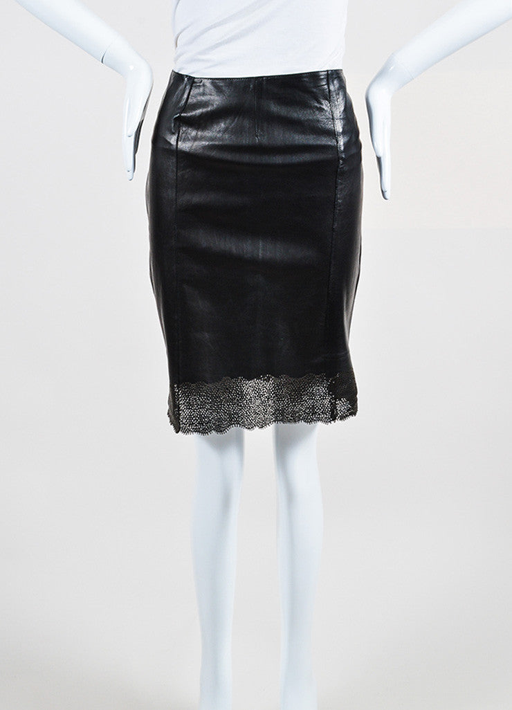 Gucci Black Perforated Leather Scalloped Hem Pencil Skirt Frontview
