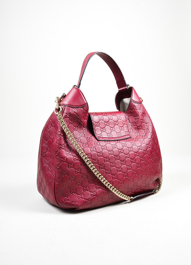 "Burgundy Plum Gucci ""Emily Guccisima"" Chain Strap Hobo Bag Backview"