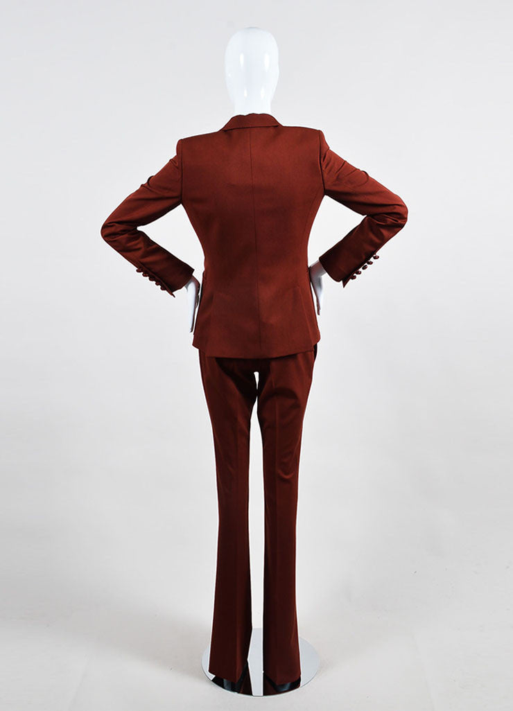 """Roasted Sand"" Red Gucci Wool Single Button Jacket Pants Suit Backview"