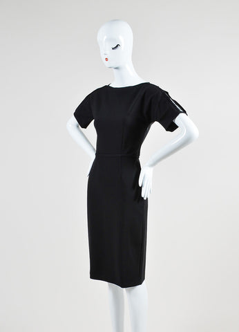 Black Gucci Stretch Jersey Mesh Panel Short Sleeve Sheath Dress Sideview