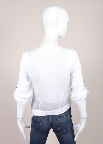 Helmut Lang White Lightweight Sheer Knit Leather Trim Crop Sleeve Jacket Backview