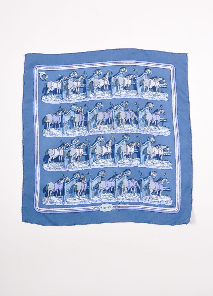"Hermes Blue Multicolor Silk Twill Horse Print ""Ecuries"" Handkerchief Scarf Frontview"