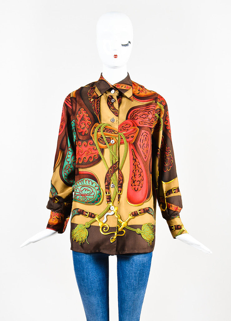 Hermes Brown, Red, and Green Silk Harness Tassel Print Button Down Shirt Frontview